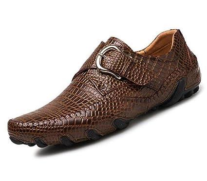NANXIE Zapatos Hombre con Estampado cocodrilo Cinturón Cuero Hebilla Mocasines y Slip-Ons Oficina y
