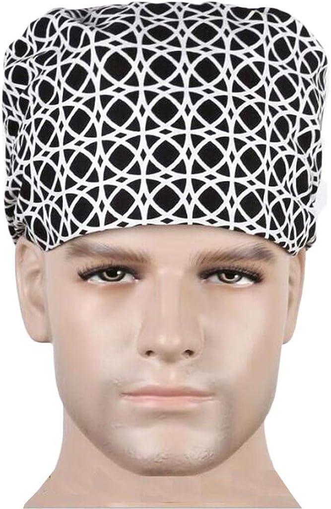 Hellofishly Scrub Caps Adjustable Bouffant Hats Elastic Head Covers for Doctor Nurse Women Black