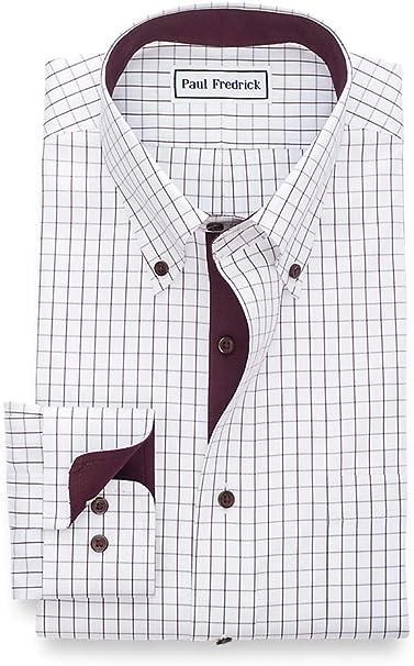 Paul Fredrick Mens Impeccable Non-Iron Cotton Check Button Cuff Dress Shirt