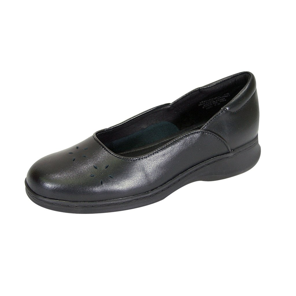 24 Hour Comfort Heather (1034) Women Wide Width Leather Dress Skimmer Flats Black 10 by 24 Hour Comfort