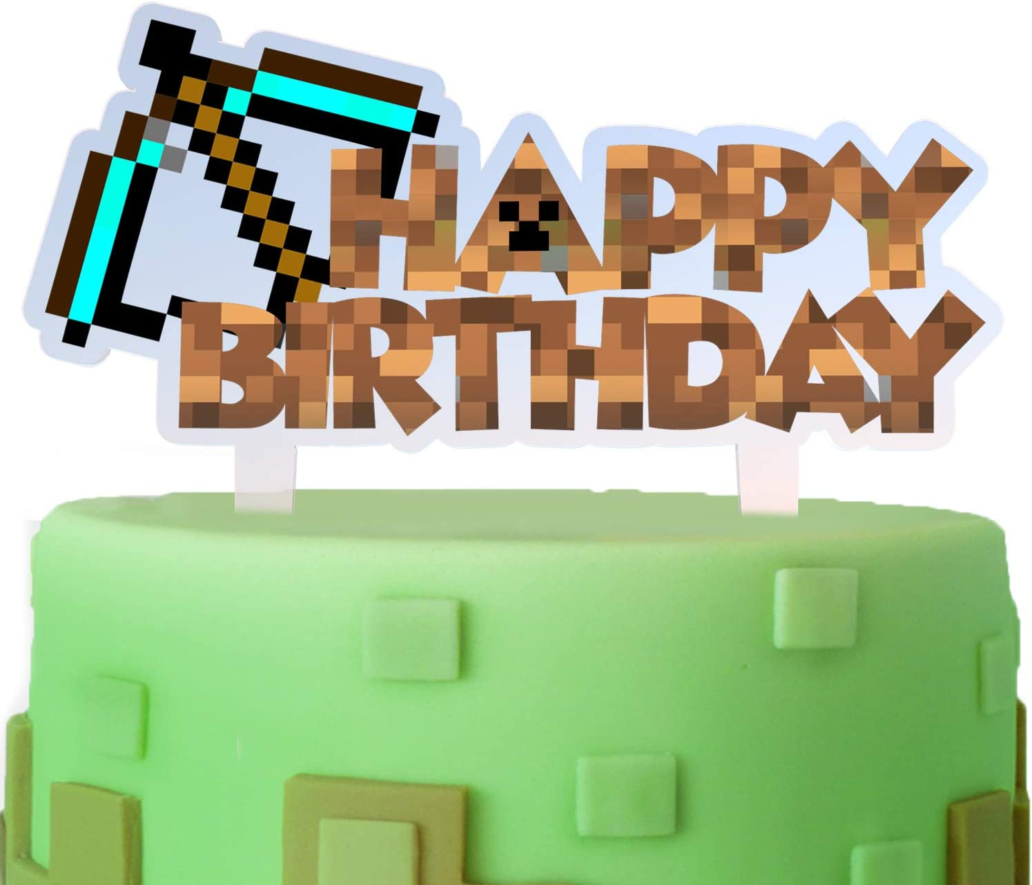 Arrow Cake Topper Happy Birthday Pixel Video Game Theme Decor for Baby Shower Birthday Party Decorations Supplies Acrylic
