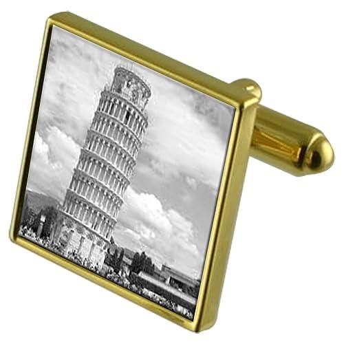 Italia Torre de Pisa de Tono Oro Gemelos Crystal Gift Set Clip de ...