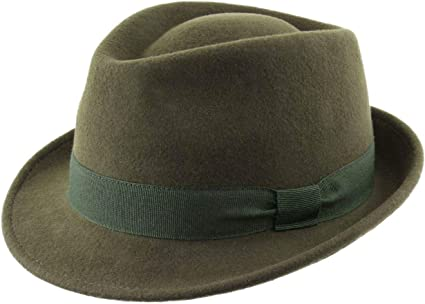 Classic Italy Trilby Wool Felt Trilby Hat Size 55 cm Olive