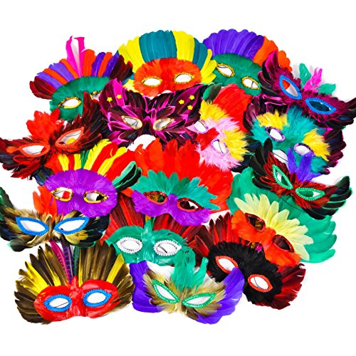 Mardi Gras Masks Cheap (Rinco Assorted Mardi Gras Party 50pc One Size Feather Masks, One Size)