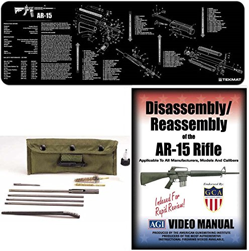 American Gunsmithing Institute DVD Disassembly & Reassembly Course AR15 AR-15 AR 15 M4 M16 Rifle + Ultimate Arms Gear Gunsmith & Armorer's Cleaning Bench Gun Mat + Deluxe .223 5.56 AR15 M-16 Rifle Cleaning Kit