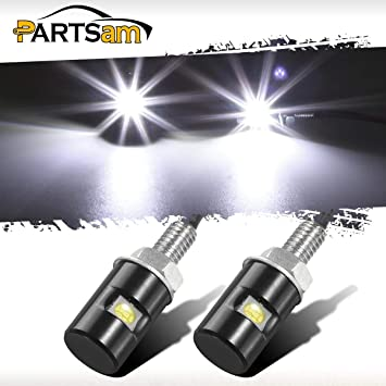 Rupse 2PCS White LED Motorcycle,Car License Plate Screw Blot Light