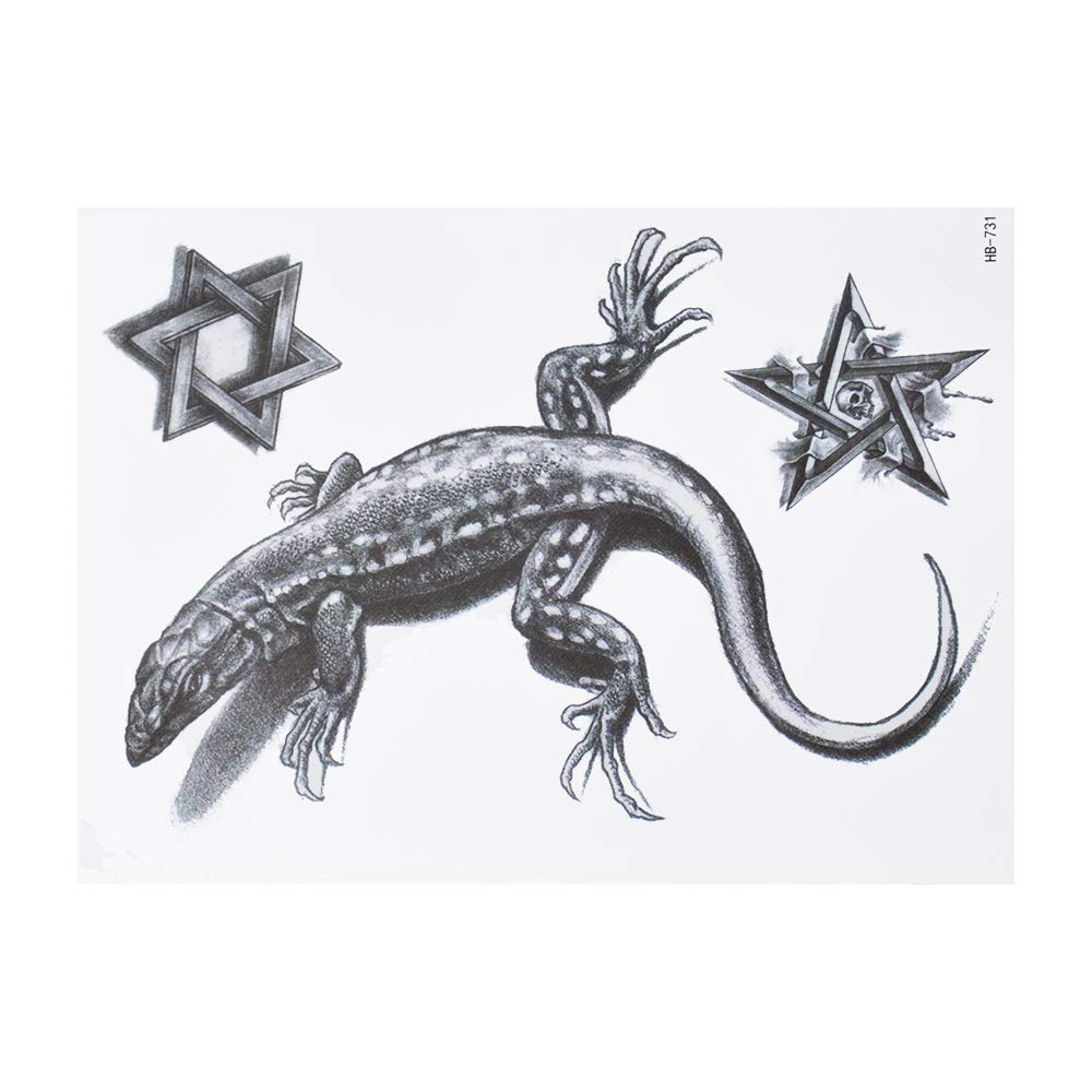 Gecko tatuaje de estrella de David tatuaje falso adhesivo para ...