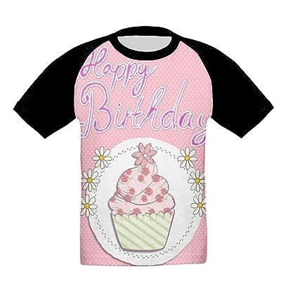Quzim Flower Poop Cupcake Happy Birthday Jersey Baseball Tee T Shirts For Kids Toddler Baby Boys Girls