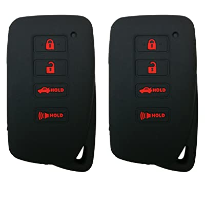 Coolbestda 2Pcs Rubber 4buttons Smart Key Fob Full Protector Remote Skin Cover Case Keyless Jacket for Lexus 2020 NX300h 2020-2013 ES350 GS350 2016-2013 GS300h GS450h Black: Automotive