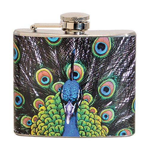 Peacock 5 oz. Stainless Steel Flask