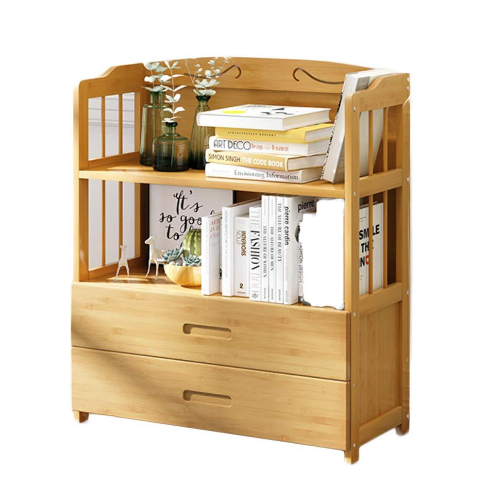 DULPLAY Ispessita con cassetto Libreria, Legno di bambù Scaffale libreria da Parete,Libreria espositore Organizer Storage per Record & Libri-G 80x25x80cm(31x10x31)