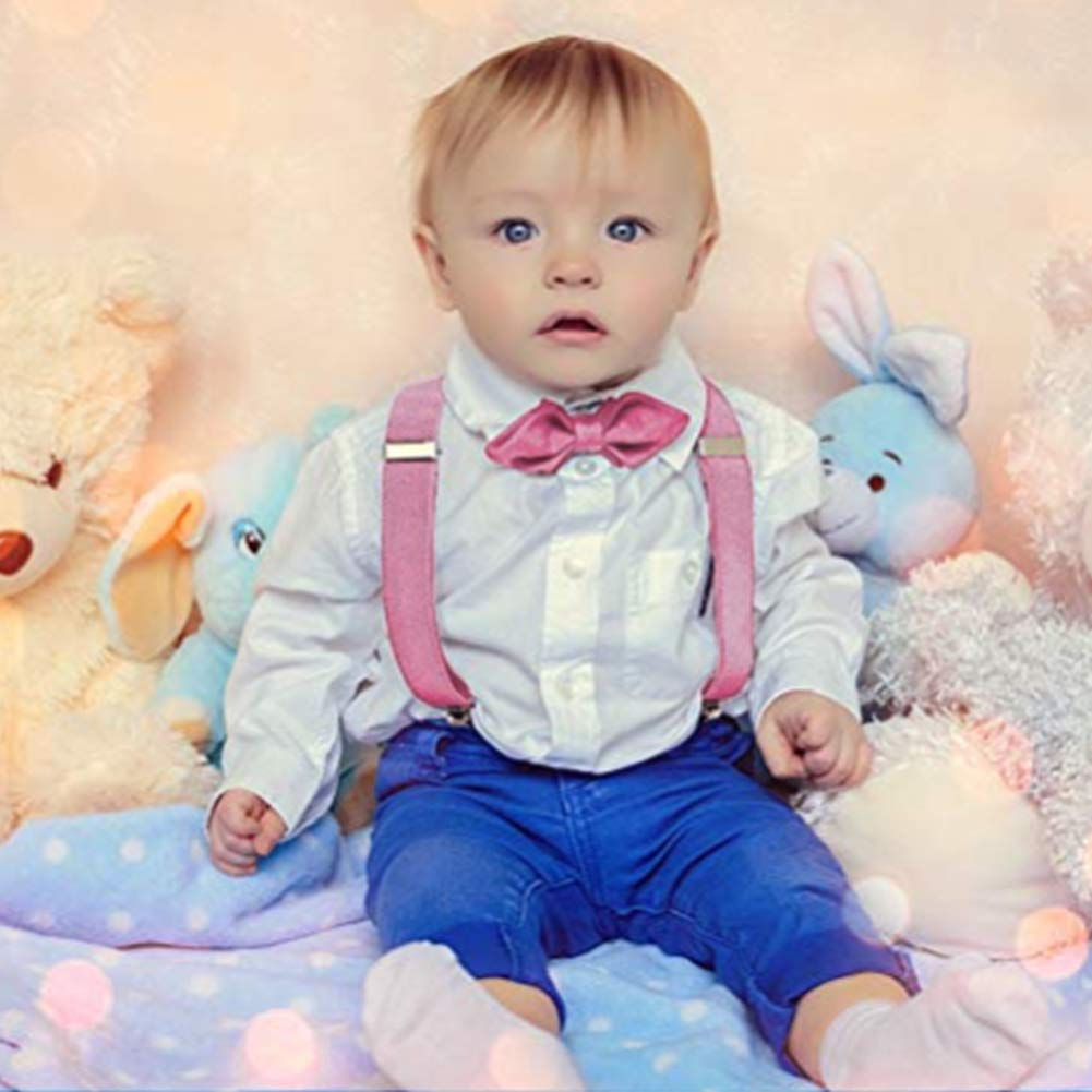 Kids Boys Suspenders Baby Trousers Adjustable Elastic Back and Strong Clips Strap Pink