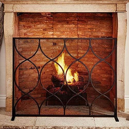 シングルパネル暖炉スクリーン、耐久性のある鉄のフレームとメタルメッシュ、無料立ちスパークガード - 112X84cm - ブラック