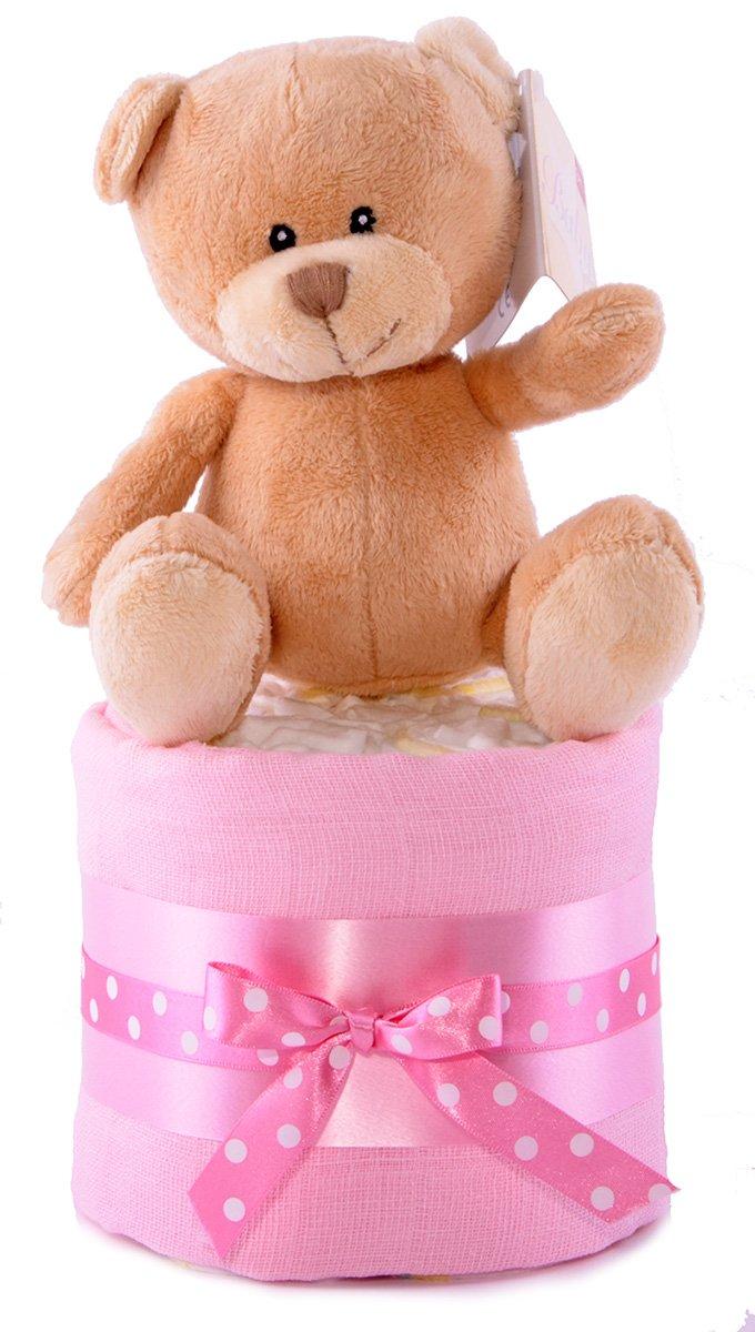 Cadeau de naissance Bébé Fille Motif mini étoiles Style gâteau de couches Rose PureNappyCakes 1MINIP
