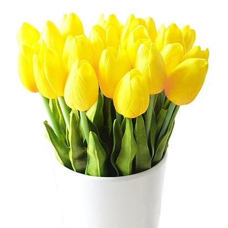 Tulipanes Artificiales Turelifes En Tallos Individuales Poliuretano Que Parece Real Al Tacto Para Arreglos Florales Y Decoración 10 Piezas