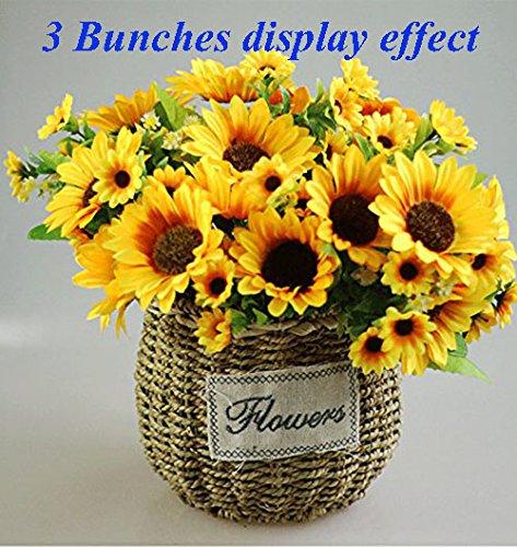 One Stem - Artificial Sunflower Bouquet Artfen 1 Bunch Artificial Silk Flower Plant Home Hotel Office Wedding Party Garden Craft Art Decor 13 inch High