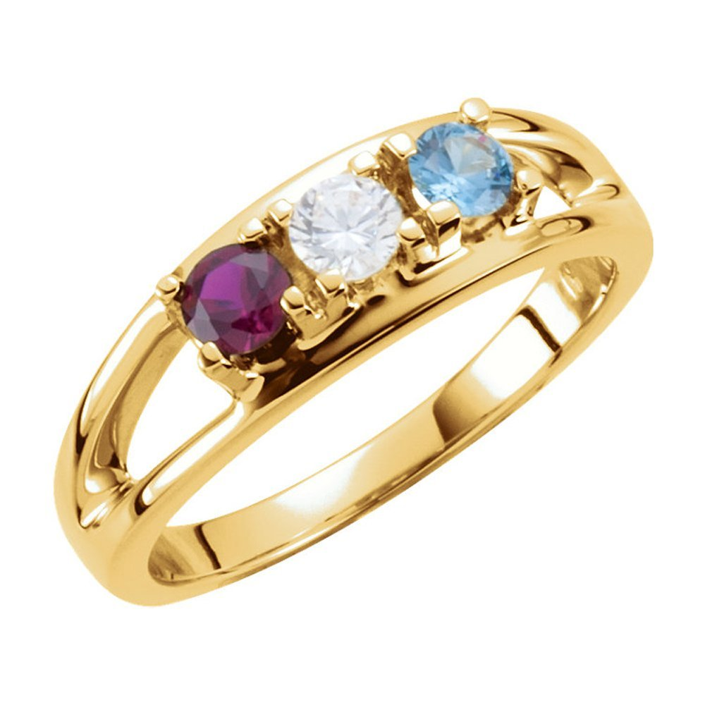 Family Mothers Ring 2 to 7 Birthstones Solid 10k White,Yellow or Rose Gold
