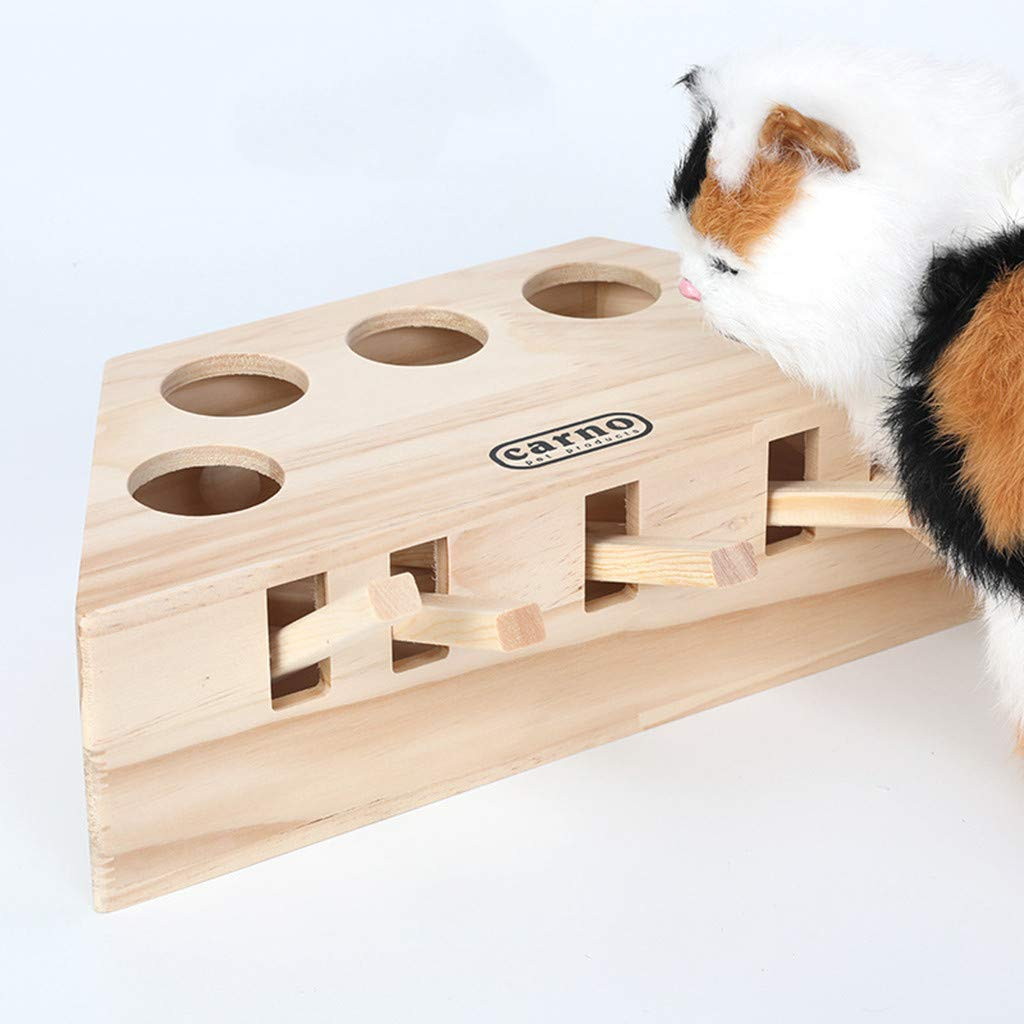 Interactive Cat Teaser Toy, Solid Wooden Cat Exercise Toy Whack a Mole Mouse Puzzle Box with Different Cute Cartoon Toys for Cat Kitten Hunting Playing Exercising Scratching Bite 3/5 Holes (D, Yellow)