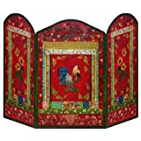 The Stupell Home Decor Collection 3 Panel Decorative Fireplace Screen, Red Rooster, 44 by 31 by 0.5-Inch