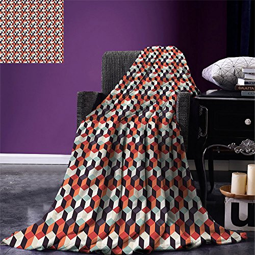 Redskins Cube Washington - smallbeefly Geometric Custom Design Cozy Flannel Blanket Retro Cubes Flat Artsy Boxes in Different Color Corners Squares Abstract Design Lightweight Blanket Extra Big Multicolor