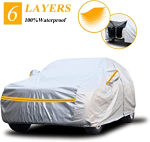 "Autsop Car Cover Waterproof all Weather,6 Layers Car Cover for Automobiles Outdoor Full Cover Hail UV Protection with Zipper, Universal A8-YM+(Fits SUV 178"" to 187"")"