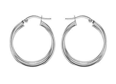 Tuscany Silver Sterling Silver 25mm Diamond Cut Creole Earrings h3sBN66b