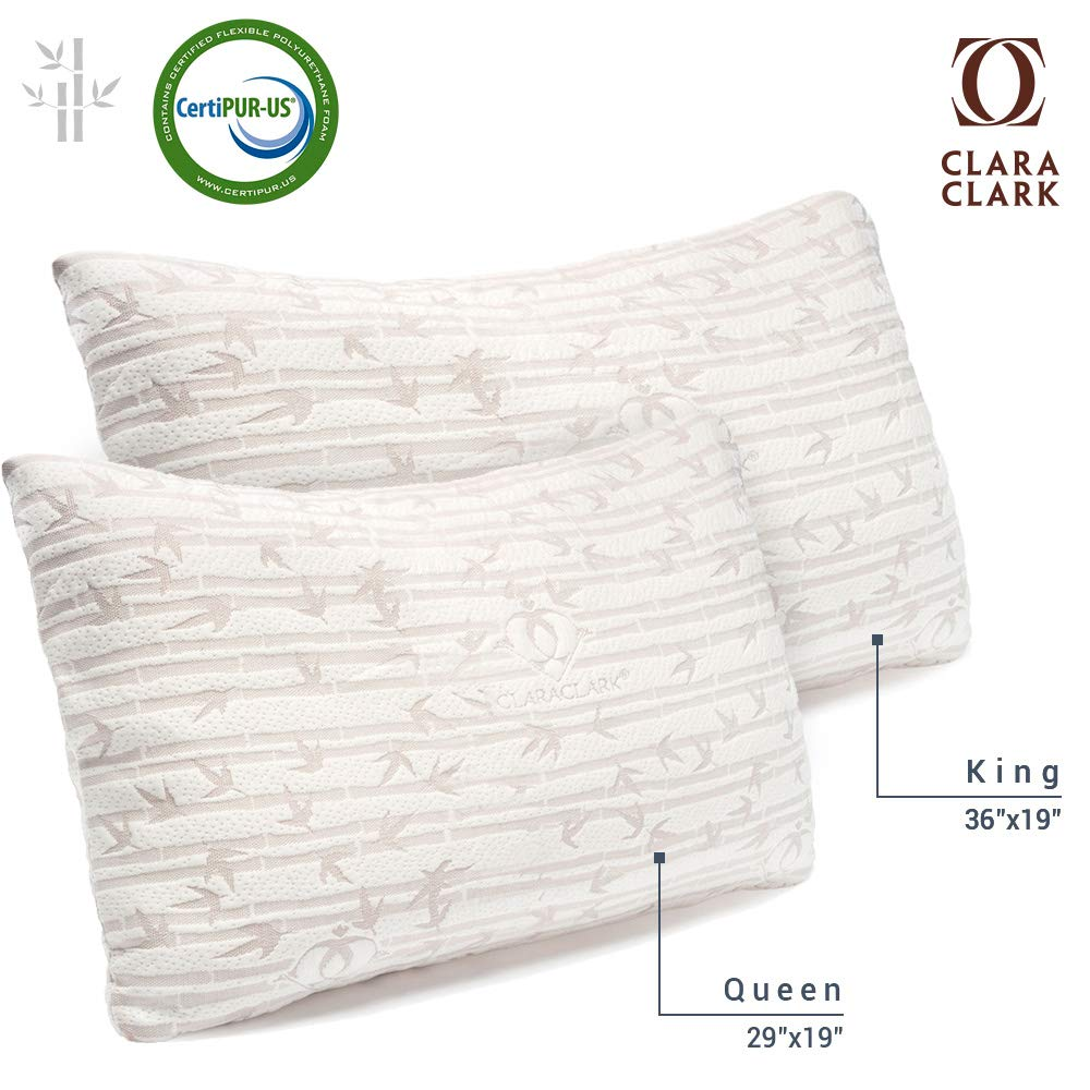 Clara Clark Bamboo Shredded Memory foam King (Cal-King) Size Pillow with removable Washable Pilloecover Set of 2