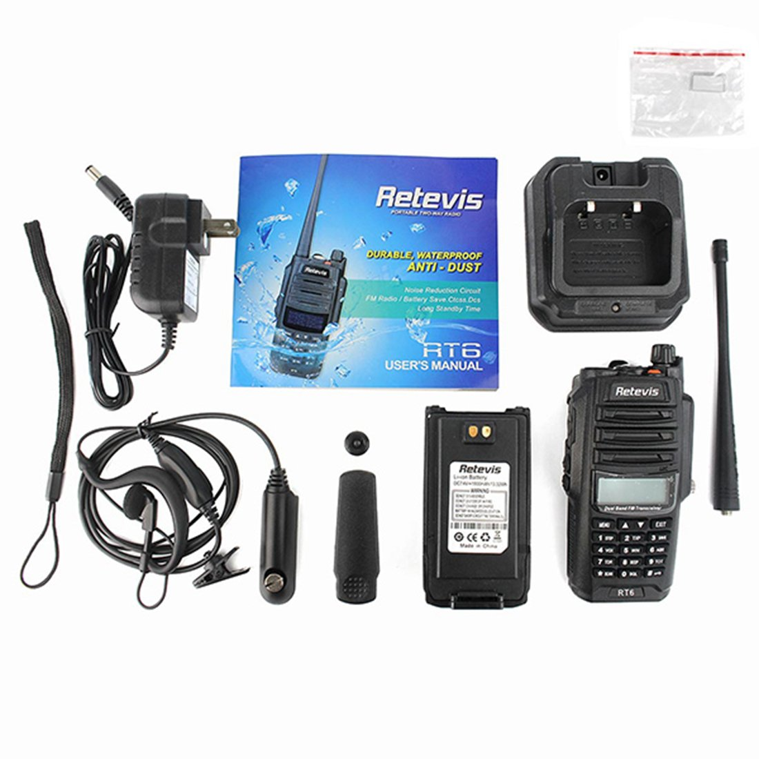 Retevis RT6 2 Way Radio IP67 Waterproof Dual Band VHF/UHF 136-174Mhz/400-520Mhz Walkie Talkie with Earpiece (5 Pack) and Programming Cable (1 Pack) by Retevis (Image #7)
