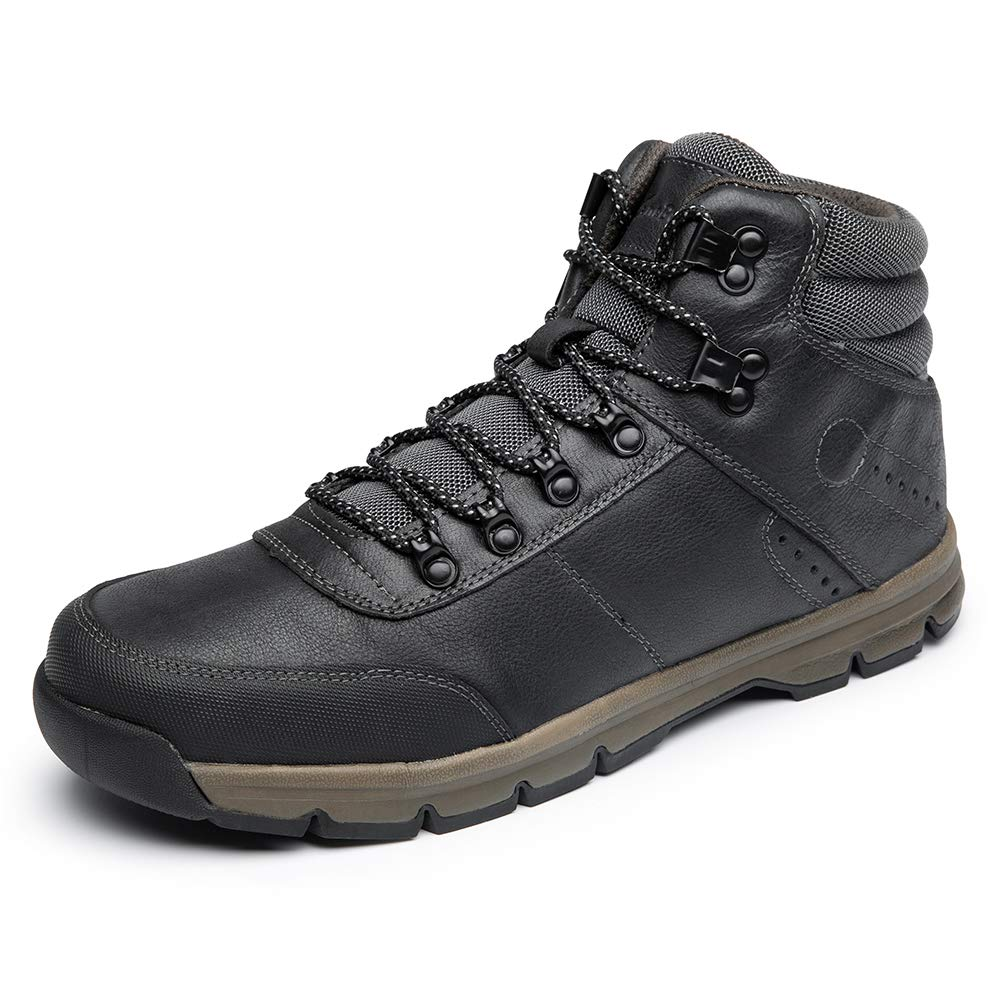 LANGBAO Men's Hiking Boots Genuine Leather Outdoor Casual Ankle Boot Lightweight Backpacking Trekking Shoes 16205 Black 9.5 by LANGBAO