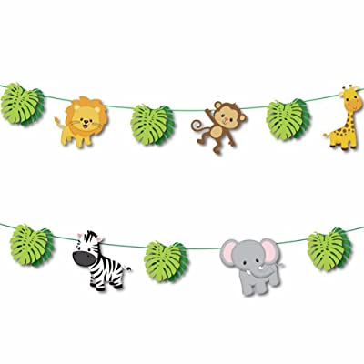 17pcs Jungle Woodland Animals Leaves Garland Forest Theme Party Banner for Birthday Wedding Party Festival Party Home Decoration