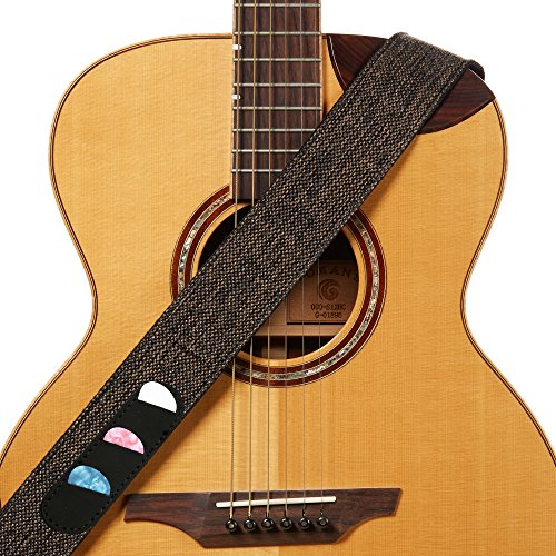 Amumu Guitar Strap Cotton Linen Woven Brown W/pick holder for Acoustic, Electric and Bass Guitars with Strap Blocks & Headstock Strap Tie - 2