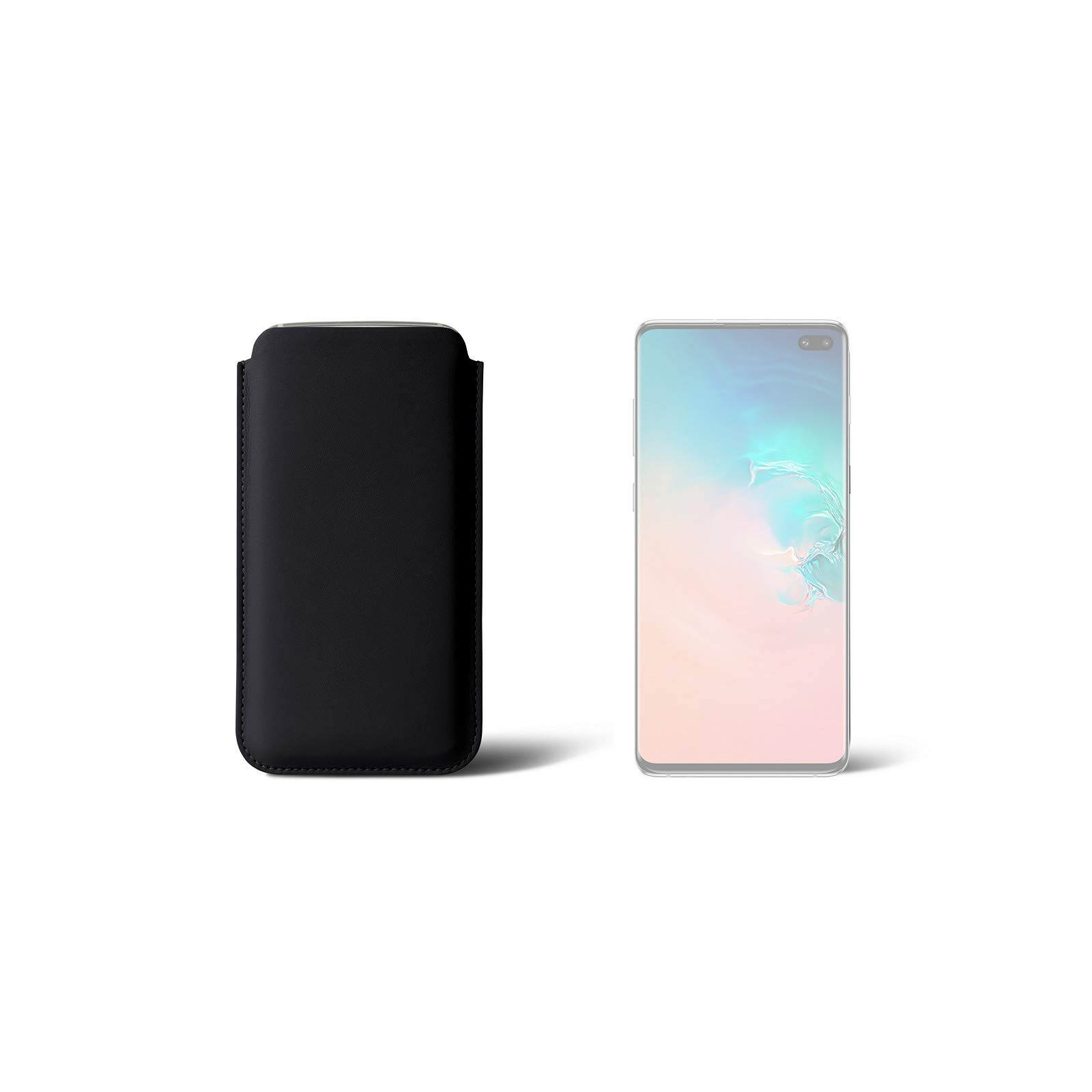 Lucrin - Sleeve Compatible with Samsung Galaxy 10 Plus/Huawei P30 Pro - Black - Genuine Leather by Lucrin