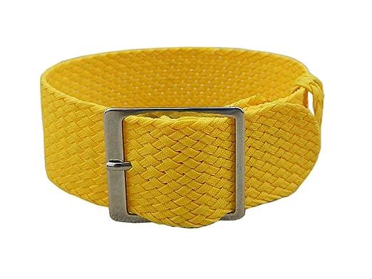 Trenzado de la correa de la venda del reloj de los hombres de nylon exóticos  delicados del estilo de la NATO de 20m m de lujo amarillo de lujo de la NATO   ... c2821df5a4fb