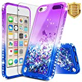 iPod Touch 6 Case, iPod Touch 5 Case w/[Tempered Glass Screen Protector], NageBee Glitter Liquid Shockproof Quicksand Waterfall Flowing Sparkle Bling Diamond Durable Girls Cute Case -Purple/Blue