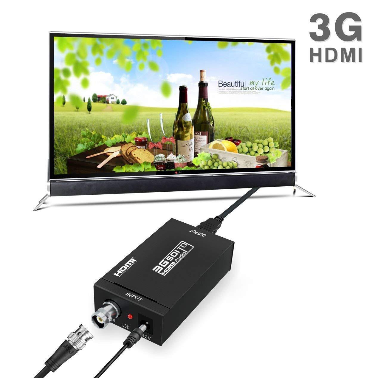 Ablewe SDI a HDMI Convertidor Adaptador SDI HDMI Adaptador HDMI//SDI-HDMI Soporte 1080P para C/ámara Home Theater