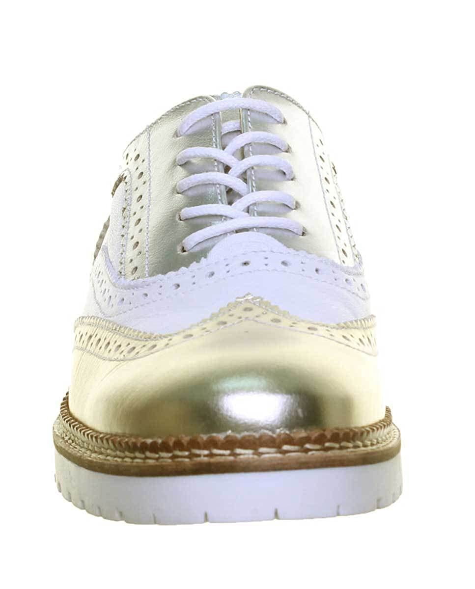 6 UK, White Justin Reece Womens Lace up 100/% Leather Brogue Contrast