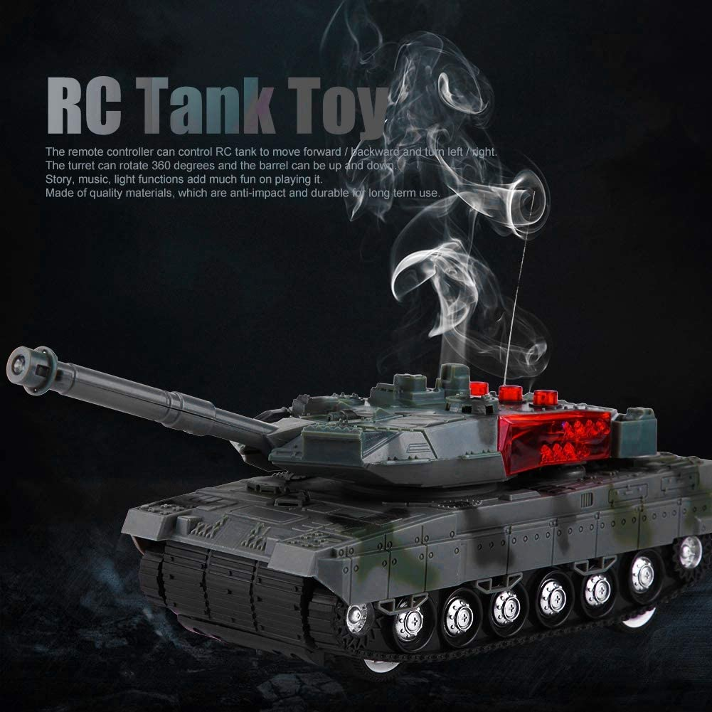 Annjom RC Tank Toy Music Player Camouflage Tank Toy Electric Gift for Children