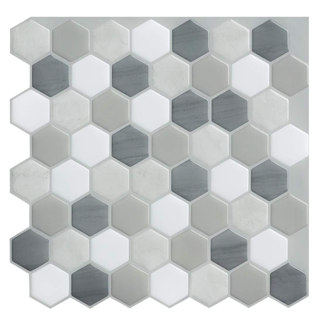 Remarkable Self-Adhesive Backsplash 9 x 9,4Sheets Premium Peel and Stick Wall Tile for Kitchen,Black Decorative Tile Stickers