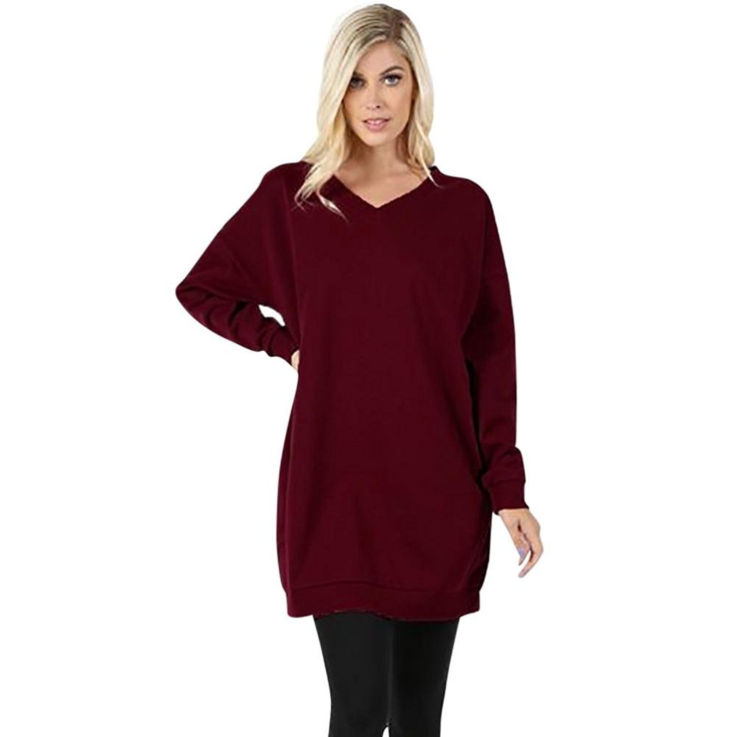 Womens Ladies Long Jumpers Mingfa Casual V Neck Tunic Tops Pure Color Sweatshirt Pullover Pocket