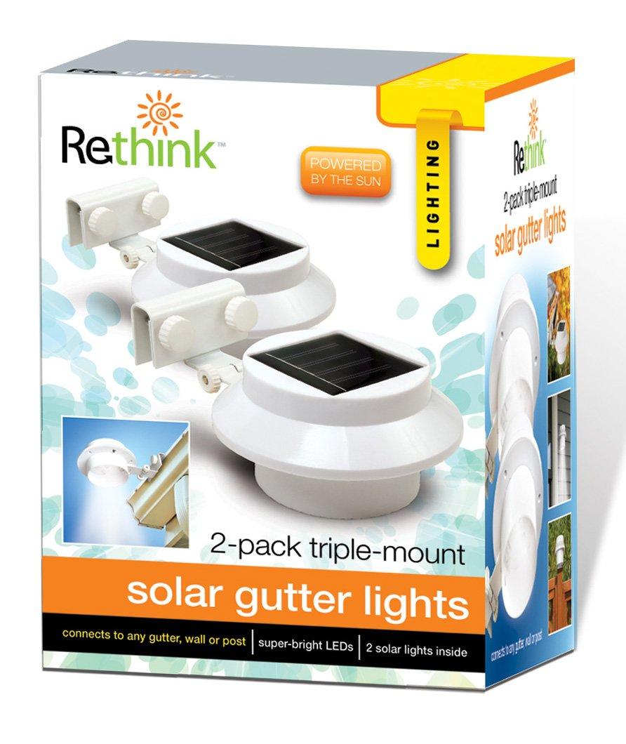 Rethink 155005 Multi Purpose Gutter Fence Solar Light 2 Pack