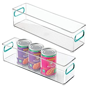 mDesign Plastic Stackable Food Storage Container Bin with Handles for Kitchen, Pantry, Cabinet, Fridge, Freezer - Long Narrow Organizer for Snacks, Produce, Vegetables, Pasta - 2 Pack - Clear/Blue