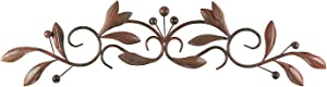Brown Burnt Red Leaf & Beads Urban Design Iron Metal Wall Art Decoration for Home & Kitchen Gifts
