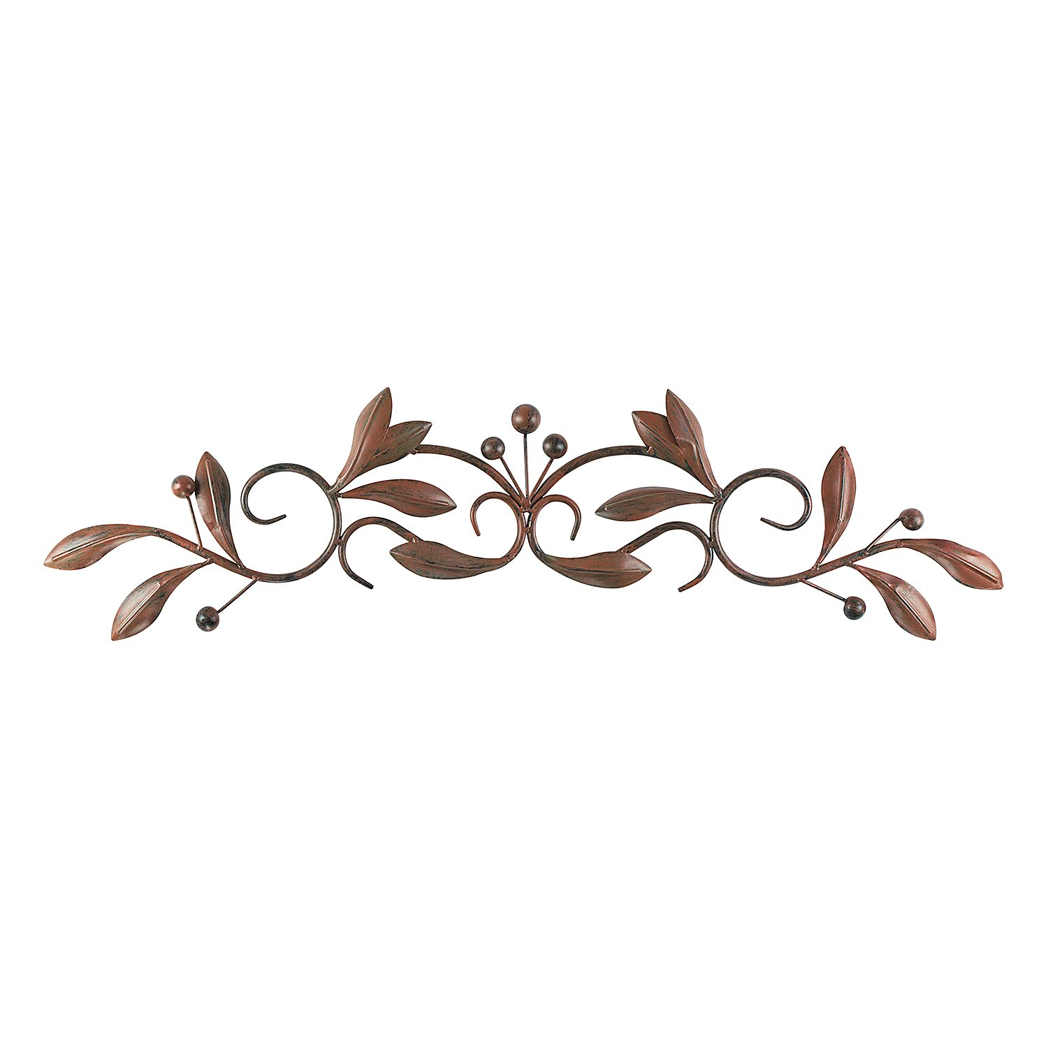 Super Z Outlet Brown Burnt Red Leaf & Beads Urban Design Iron Metal Wall Art Decoration for Home & Kitchen Gifts
