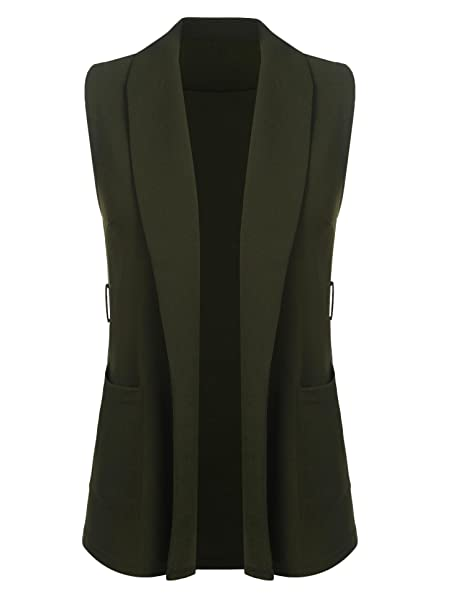 6e2d14e0e6 Image Unavailable. Image not available for. Color  Crofull Women Casual  Turn-Down Collar Sleeveless Pocket Solid Sexy Vest ...