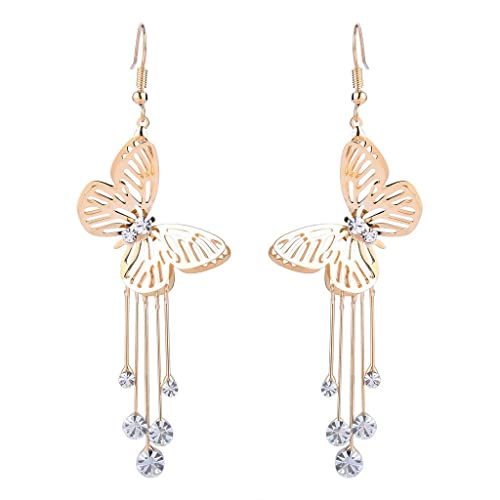 BriLove Women s Wedding Elegant Hook Dangle Earrings with Crystal Hollow  Butterfly Long Filigree Clear Gold- 10596f1cedbc