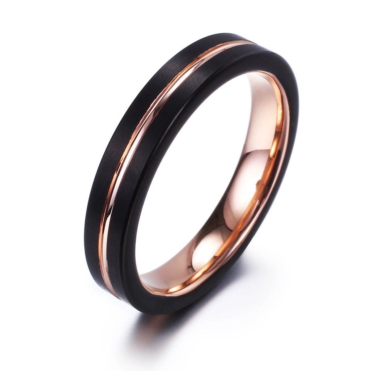 NaNa Chic Jewelry 4mm black Rose gold plated tungsten carbide ring for women(7.5)