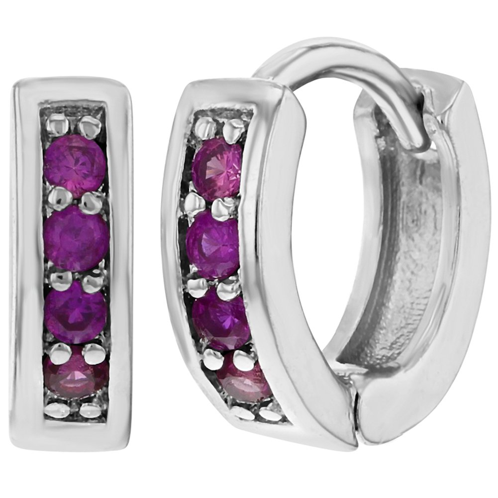 Rhodium Plated Huggie Baby Girl Earrings Small Hot Pink CZ 0.39 In Season Jewelry 03-0256-CA
