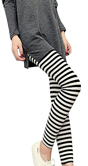 f090dfadb EachWell Women Girls Horizontal Vertical Striped Ankle Length Leggings Pant  Type 1