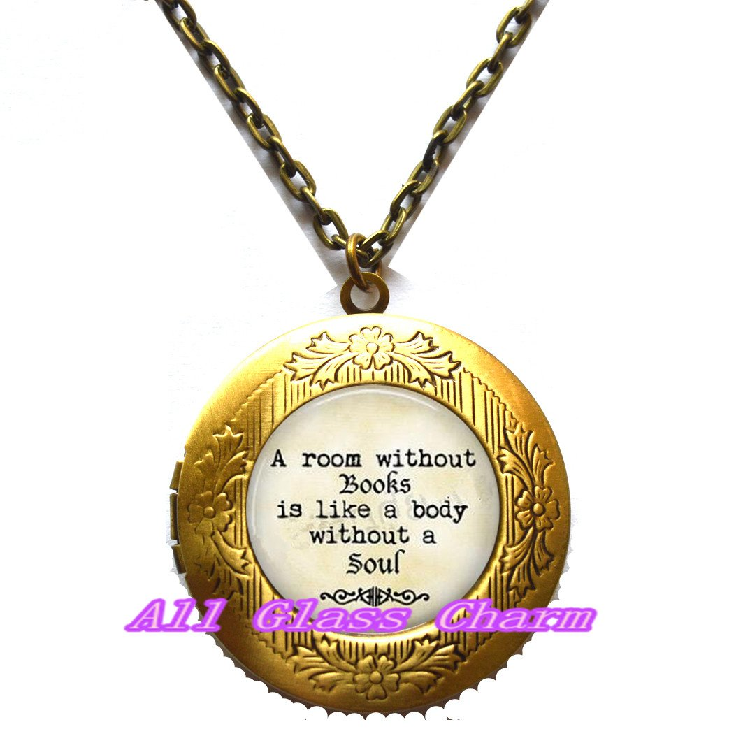 Charming Locket Necklace,Beautiful Locket Necklace,Book Jewelry A room without books is like a body without a soul Gift for Book Lover Librarian Gift for Reader Book Locket Necklace Teacher