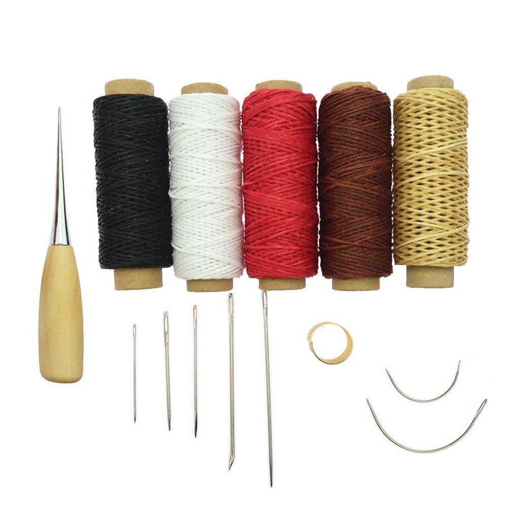 perfk 14 Unids Accesorios de Leathercraft Kit Cosido A Mano Herramientas Costura Hilo Awl Bricolaje: Amazon.es: Hogar